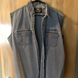 Harley-Davidson Gray Cut Off Button Shirt Sz XL